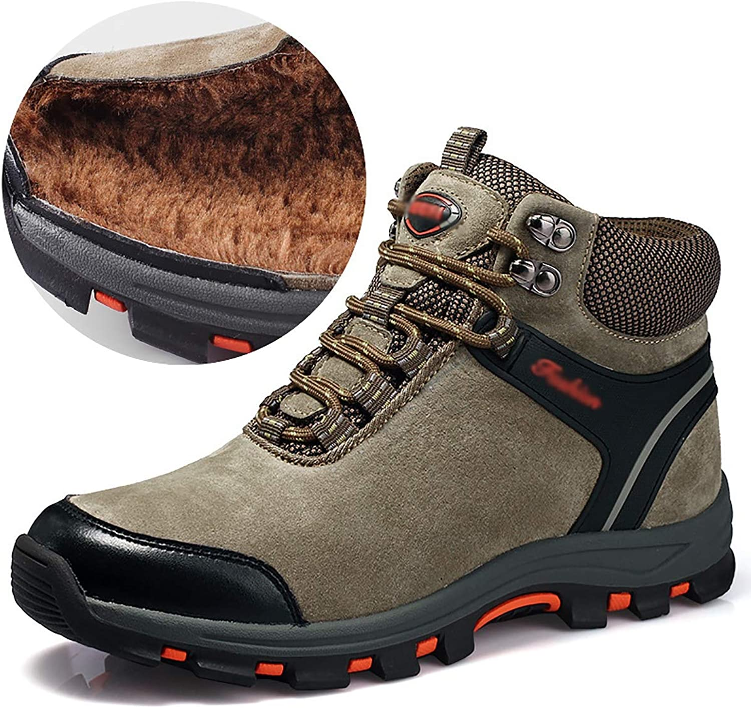 Fad-J Leather men's high-wearing hiking shoes, plus velvet warm sports outdoor shoes,Brown,42