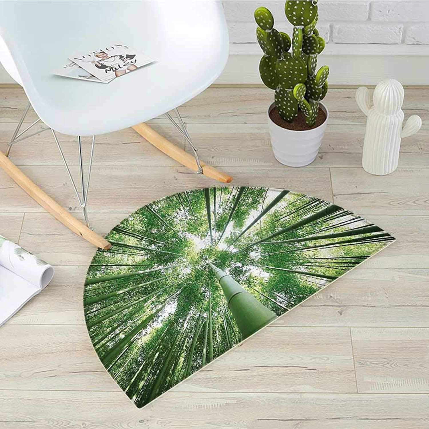 Bamboo Semicircle Doormat Tropical Rain Forest Tall Bamboo Trees in Grove Exotic Asian Style Nature Zen Theme Image Halfmoon doormats H 31.5  xD 47.2  Green