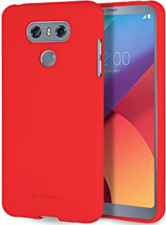Free Screen Protector, LG G6 Case [Silky] GOOSPERY Soft Feeling Marlang Jelly [Slim Fit] Flexible TPU Cover for LG G6 - Red, LGG6-SFJEL/SP-RED