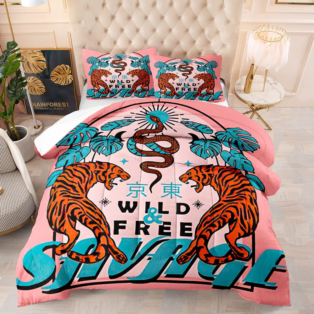 Time sale BailiPromise Japanese Style Comforter OFFicial mail order Set Tiger Revers Snake and