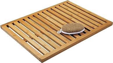 mDesign Natural Bamboo Non-Slip Large Rectangular Spa Bath Mat Bathroom Showers, Bathtubs, Floors - Slatted Design, Eco-Fr...