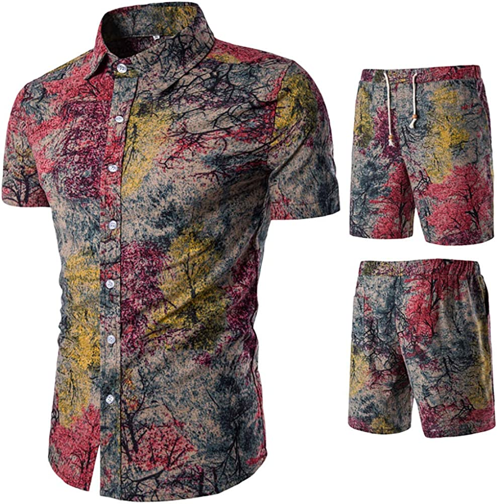 HaoDong Mens Summer Shirts Pants Sets - Fashion Printed Suit Casual Short Sleeve Clothing