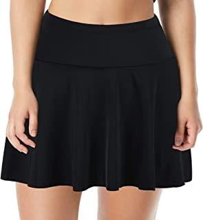 Septangle Women's High Waist Swim Skirt Tummy Control Swimwear Bikini Bottom