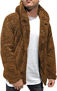 OMINA Mens Fluffy Hoodie Sweaters Autumn Winter Warm Fleece Cardigan with Buttons Lightweight Fashion Casual Teddy Coat