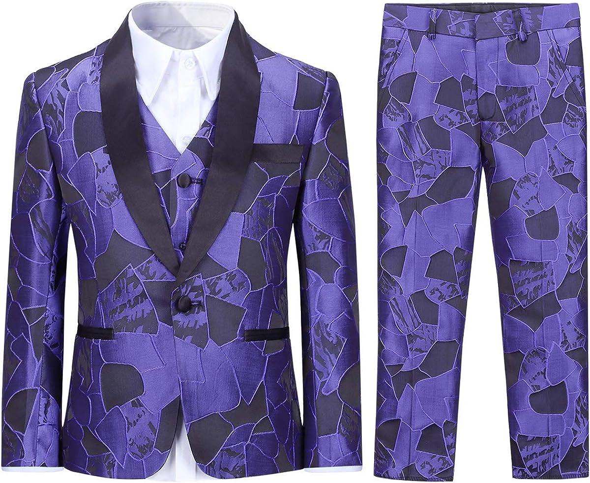 SWOTGdoby Boys Tuxedo Suit Ranking TOP10 2021new shipping free shipping Formal Dress Blazer 3 Pieces Jacquard