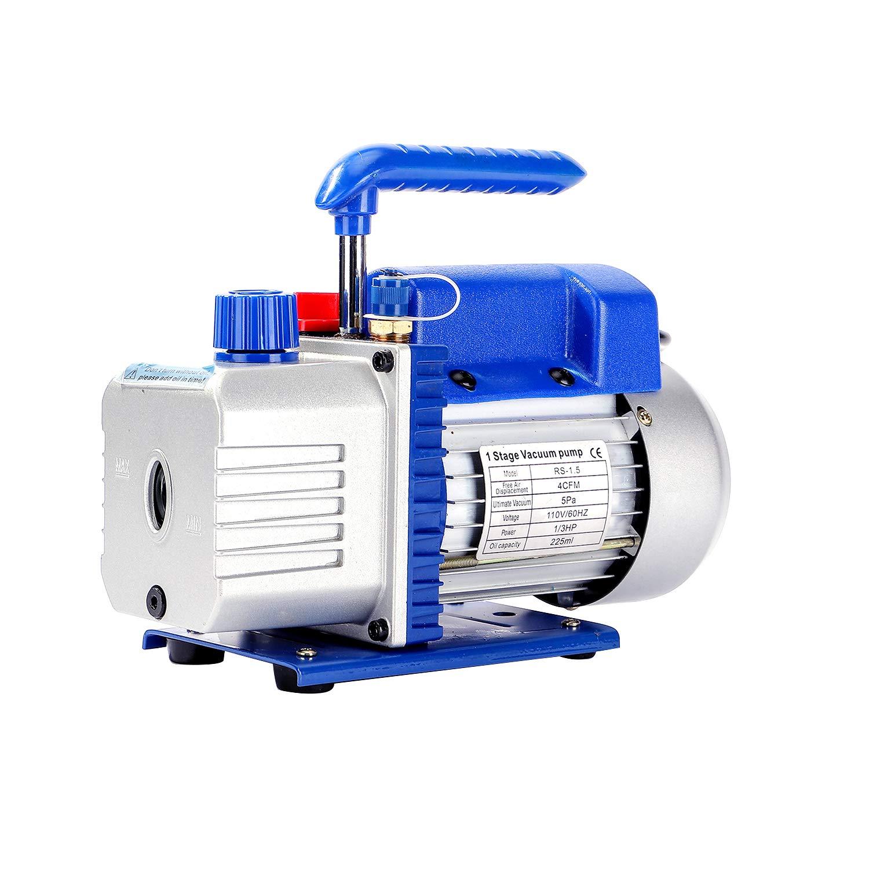 P PBAUTOS 4CFM 1/3HP Single-Stage Rotary Vane AC Vacuum Pump HVAC