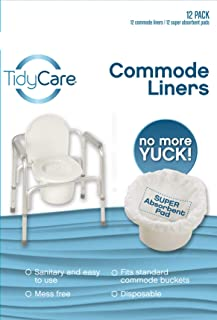 TidyCare Commode Liners – Convenience Pack - Disposable Bedside Commode Liners - 12 Commode Liners and 12 Super-Absorbent Pads - Adult Commode Liners - Commode Pail Bucket Liners - Universal fit