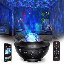 Sterprojector, TASMOR Galaxy-projector Bluetooth RGBW, LED-ster Nachtlampje Luidspreker Geluidssensorbediening met afstand...