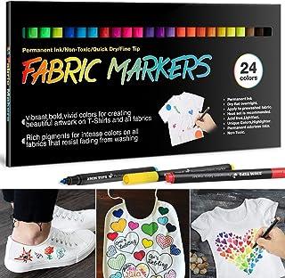 24 Textilstifte Waschmaschinenfest, APOGO Textilmarker Stoffmalstifte Waschfest, Permanent Stoffmalfarben Stifte für T Shirt, Jutebeutel, Stoffbeutel zum Bemalen, Lätzchen, Textilien Schuhe, Babyparty