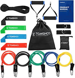 Decdeal 17Pcs Resistance Bands Set Workout Fintess Exercise Rehab Bands Loop Bands Tube Bands Door Anchor Ankle Straps Cus...
