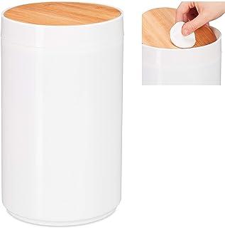 Relaxdays poubelle salle de bain 5l, couvercle oscillant en bambou, moderne, plastique, 5,5 L, H x D 26,5 x 18 cm, blanc