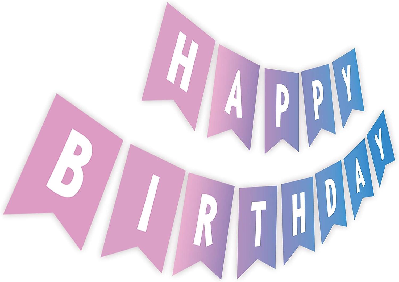 Gradients Blue Purple List price Birthday Happy Paper Banner Sign Max 77% OFF