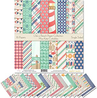 """Pattern Paper Pack - Life's a Beach - Scrapbook Premium Specialty Paper Single-Sided 12""""x12"""" Collection Includes 16 Sheets..."""