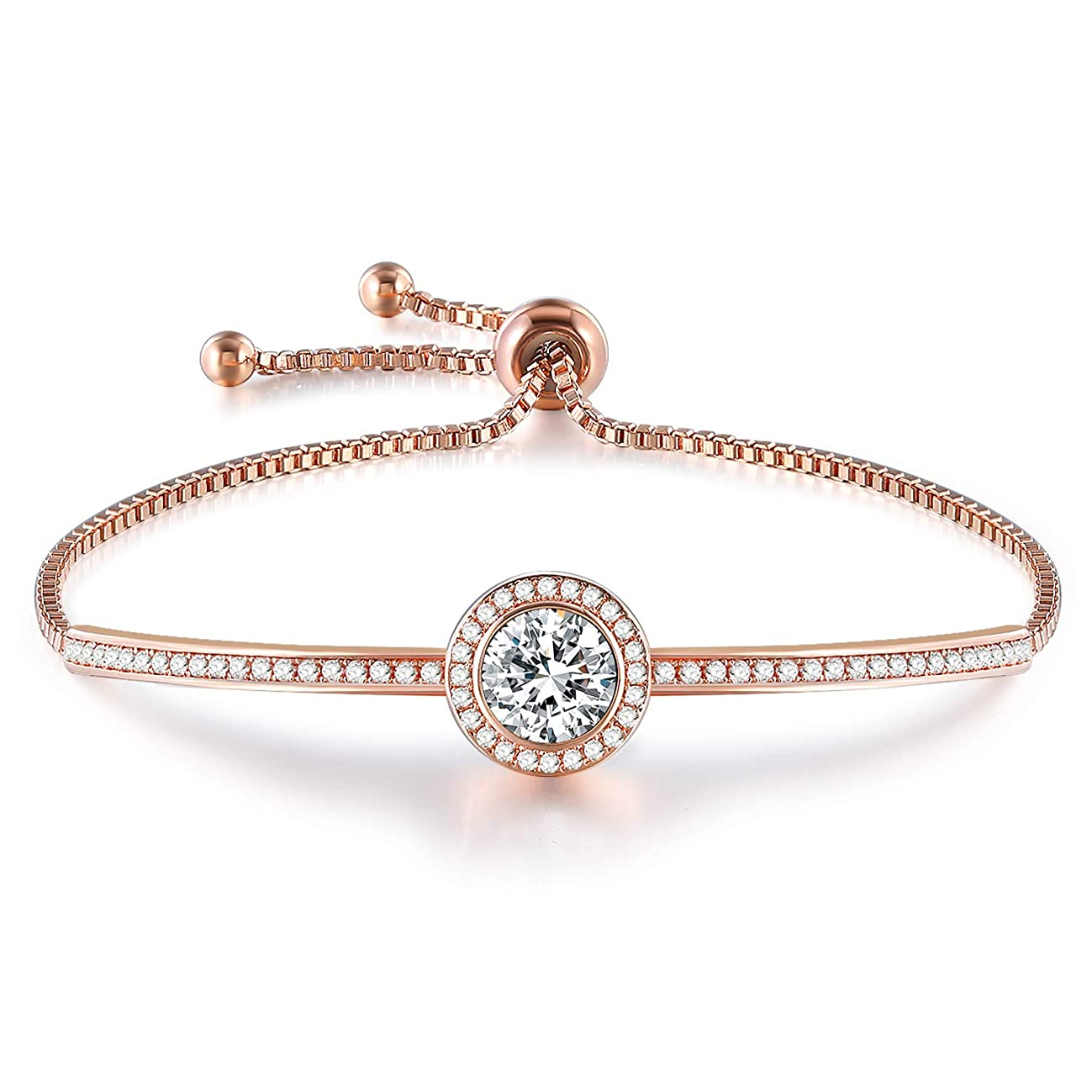 """GEORGE · SMITH Birthday Gifts""""Endless Saturn""""Classic Design Adjustable Women Bangle Bracelet Crystals from Swarovski, Jewelry for Girlfriend Wife Mom -a Luxury Gift Box Included"""