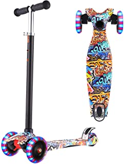 Lululy Scooters for Kids 3 Wheel Kid Scooter Kid Kick Scooter with Adjustable Height 3 Light Up Flashing Wheel for Boys Gi...