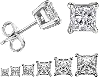 Womens Princess Cut Cubic Zirconia Stainless Steel Earring Studs 6 Pairs