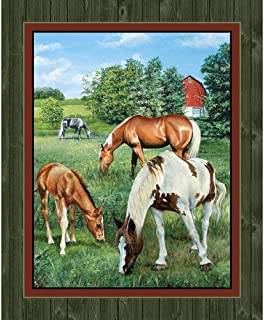 Horse Panel Quilt Panel Wall Panel Valley Crest Fabric by the Yard