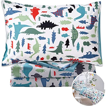 Joyreap 4 Piece Cotton Toddler Bedding Set, Colorful Dinosaurs on White Reversible Design, Includes Quilted Comforter, Fitted Sheet, Top Sheet, and Pillow Case for Kids Boys n Girls