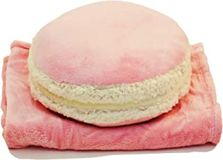 Dreamsweet Macaron Shaped Multi-Function Throw Pillow Cushion with Removable Blanket, B7PK