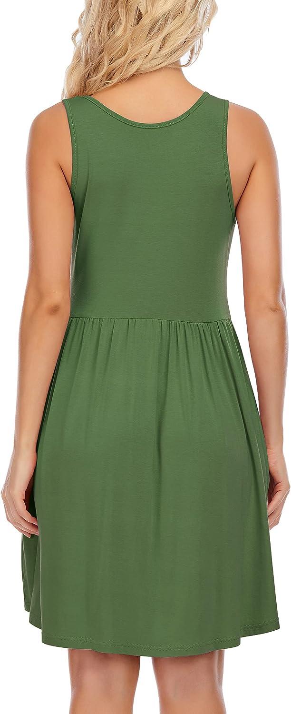 SEFFORANO Women's Dress Summer Simple Sleeveless Casual T-Shirt Dresses Beach Loose Dress Elastic Tank Tops
