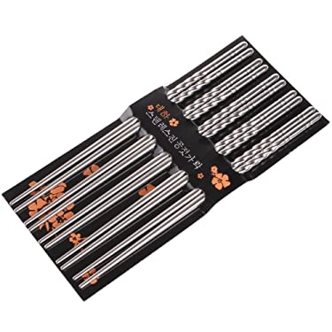 UZZO™ 5-pairs of Stainless Steel durable Chopsticks Lightweight Professional Chopsticks - Dishwasher safe