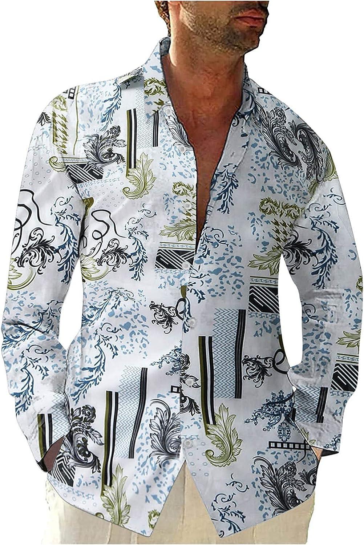 2021 Mens Casual Dress Shirts Long Sleeve Regular Fit Printed Button Down Shirts