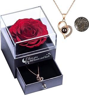 Véritable Rose éternelle avec Collier Love You Boîte à Bijoux, Rose éternelle Real Forever Rose pour la Saint-Valentin Ann...