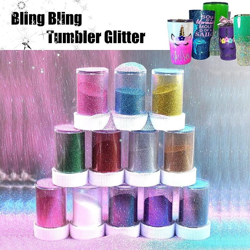 12 Pcs Magic Glitter Bling Spray Shaker For Crafts Tumbler USLINSKY Fine Slim Glitter Assorted Color Adapt To Glitter Tumbler Cups Glitter Sparkling Crystals Shaker Bottle For Tumblers
