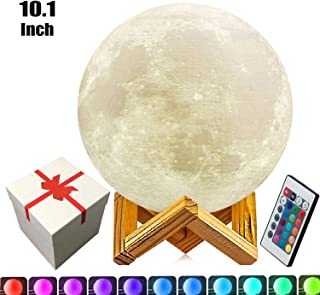 10.1 inch Large Moon Lamp,5.9in,7.1in,7.9in and 9.1in 3D Moon Lamp,3D Printed LED Moon Lamp,16 Colors Moon Light with Remote Control