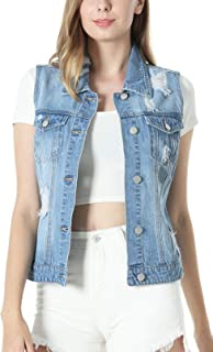 MISS MOLY Women's Crop Distressed Ripped Jean Vests Classic Sleeveless Jean Vest Jackets With Flap Pockets