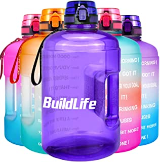 BuildLife Gallon Motivational Water Bottle Wide Mouth with Time Marker/Flip Top Leak Proof Lid/One Click Open/BPA Free/Mul...