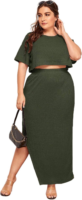 SheIn Women's 2 Piece Plus Short Sleeve Round Neck Crop Tee and Rib-Knit Split Skirts