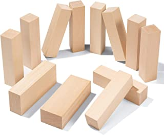 Yangbaga 12 pcs blocs de sculpture en bois sculpture bois inachevé blocs -débutants premium sculpture blocs bricolage arti...