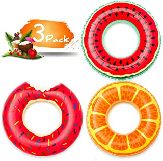 COCEQUC Inflatable Pool Floats Fruit Pool Tubes Swimming Rings Swim Tube Summer Beach Water Float Party Decorations Toys for Kids Adults, 32 inch