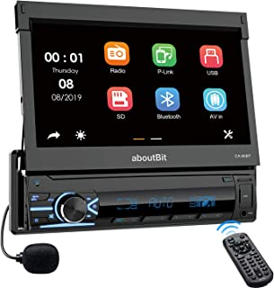 Single Din Bluetooth Car Stereo, aboutBit 7 inch Touchscreen Motorized MP5 Car Radio Support Mirror Link, Built-in Microph... photo