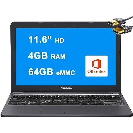 "Asus Flagship VivoBook E12 Light and Thin Laptop 11.6"" HD Display Intel Celeron N3350 Processor 4GB RAM 64GB eMMC Intel HD Graphics HDMI USB-C Microsoft365 Win10 + iCarp HDMI Cable"