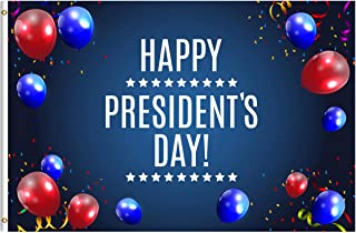 ShineSnow USA American Presidents Day Washington's Lincoln's Birthday Balloons 3x5 Feet Flag, Polyester Double Stitched with Brass Grommets 3 X 5 Ft Flag for Outdoor Indoor Home Decor