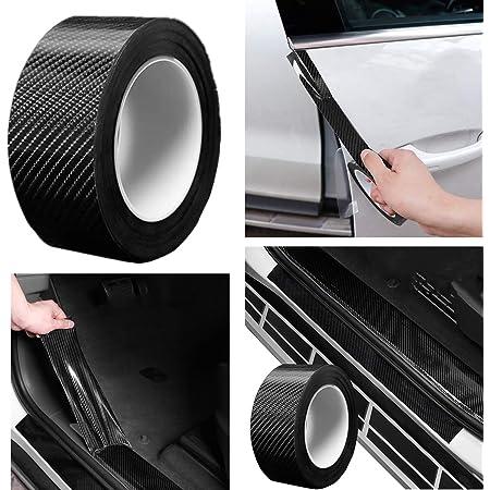 Auto Einstiegsleisten Kohlefaser Aufkleber Universal 5m Autoaufkleber Stoßstange Spoiler Kantenschutz Sticker 5cm X 5m Auto