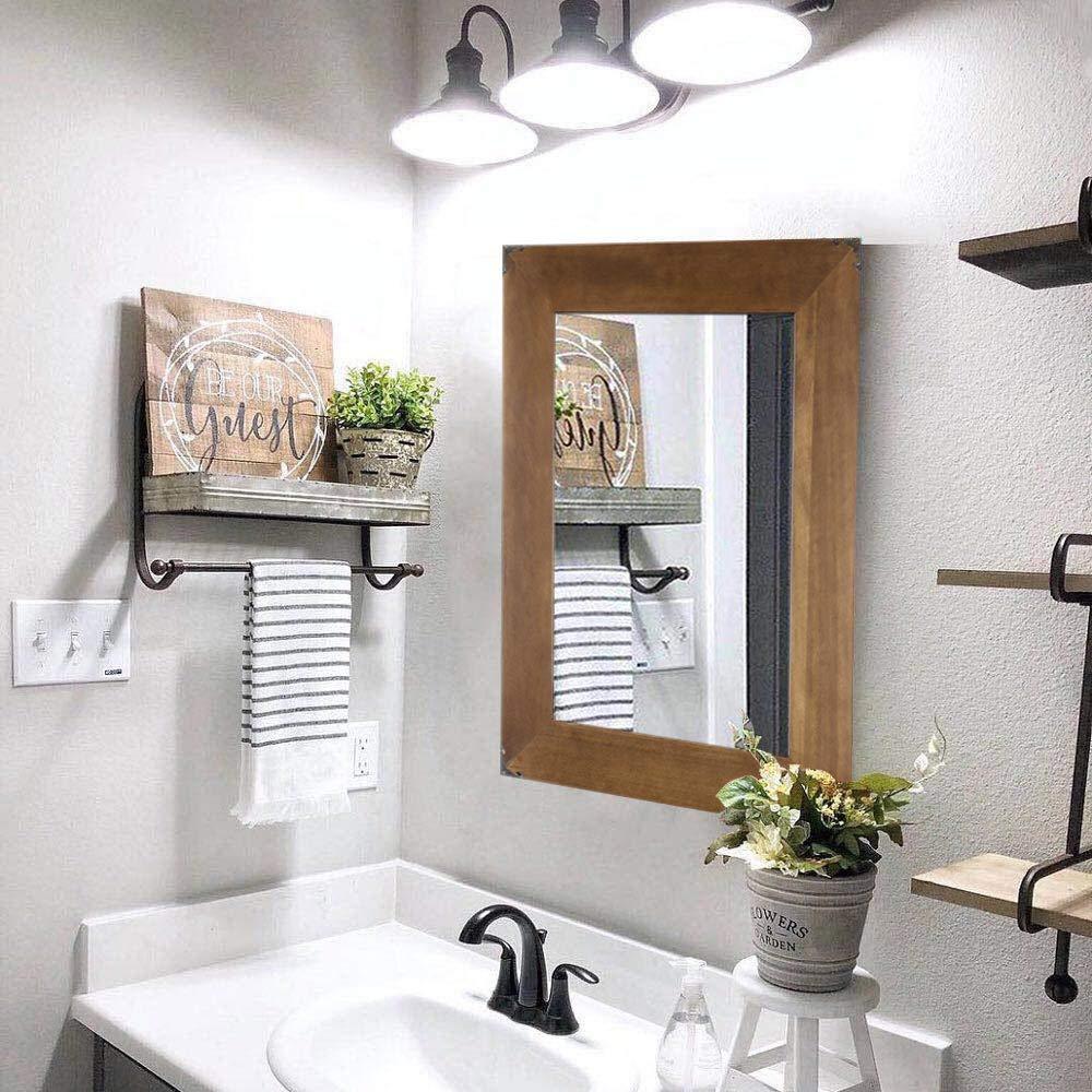 Rustic Wood Frame Wall Mirror Vanity Mirror Makeup Mirror Bathroom Mirror With Decorative Metal Corners For Farmhouse Living Room Bathroom Bedroom 23 X 17 Inch Buy Online In Jamaica At Desertcart 126261348