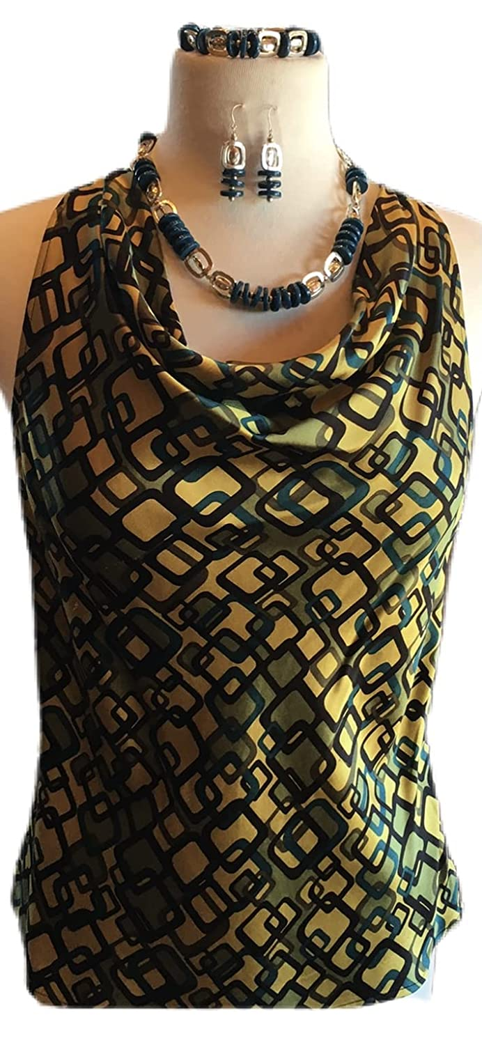 Custom New products, world's highest quality popular! Couture Medium Midcentury yellow blou teal and sold out sleeveless