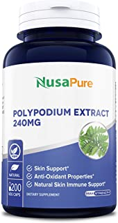 Polypodium Leucotomos Extract 240mg 200 Veggie Capsules (Vegetarian, Non-GMO & Gluten Free) Antioxidant Properties, Natura...