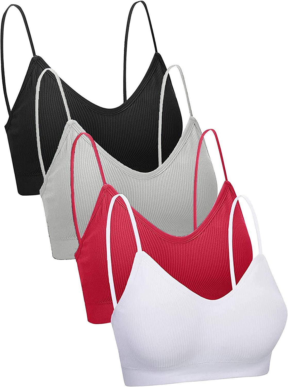 Inverlee 4 Pieces Sports Bras for Womens V Neck Bralette Seamless Padded Solid Color Workout Running Sleep Bra