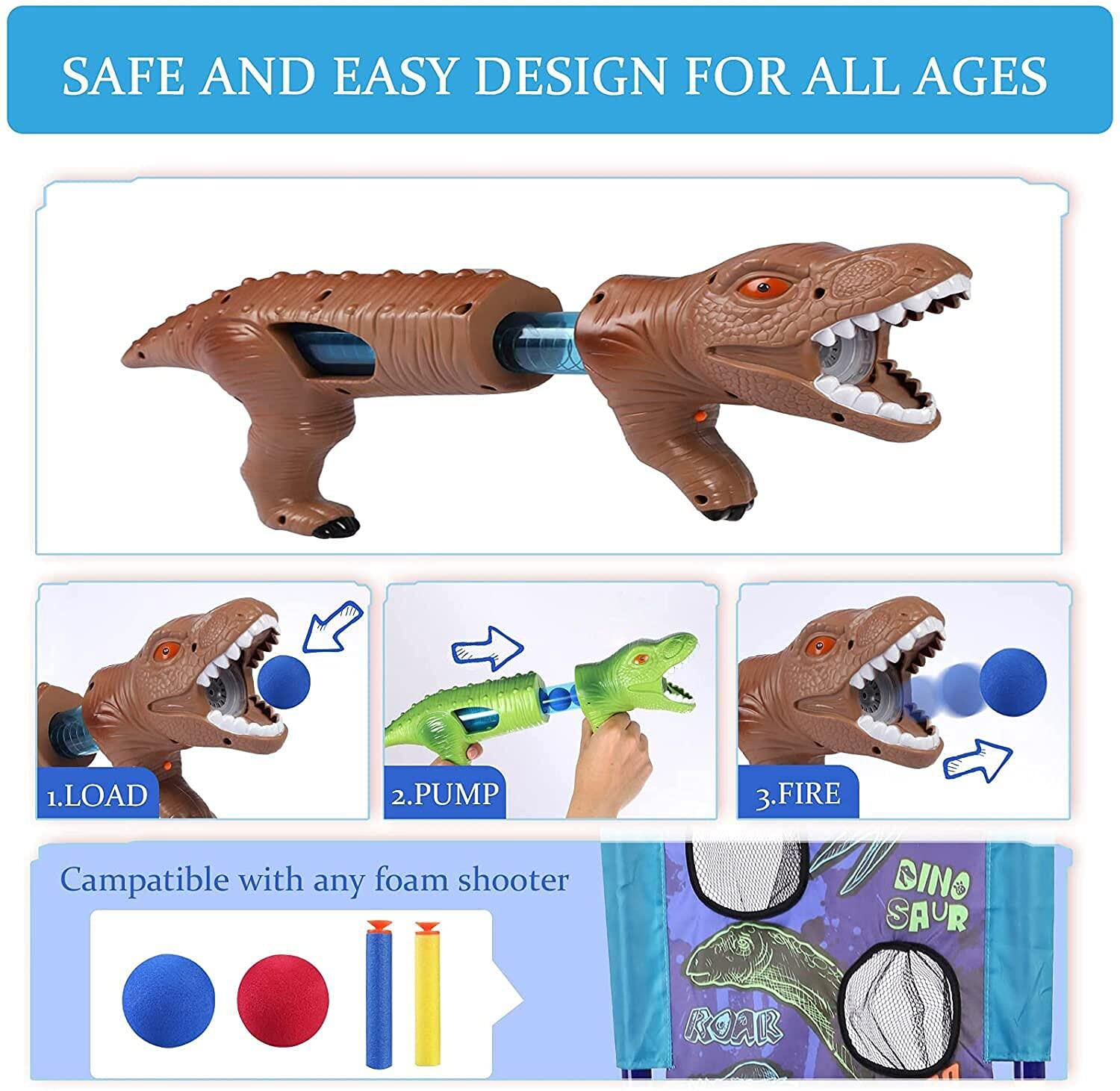 SZJJX Shooting Games Dinosaur Kids Toys for 5 6 7 8 9 10+ Year Old Boys Girls,2 Foam Ball Popper Air Guns,Standing Shooting Target, 20 Foam Balls & Bullets, Ideal Gift - Compatible with Nerf Toy Guns