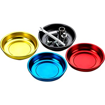 Katzco Magnetic Mini Tray Holders - 4 Pack Multi Color - Use in Garage, Home, Construction - for Nuts, Bolts, Washers, Iron, Nails, Screws, Sockets, Bits, Etc. - 4 Inch Diameter x 1-1/4 Inch Depth