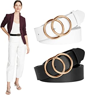 2 Pack Women Black Belts for Dress Jeans Leopard Brown Leather Belt with Gold Buckle Double O Ring