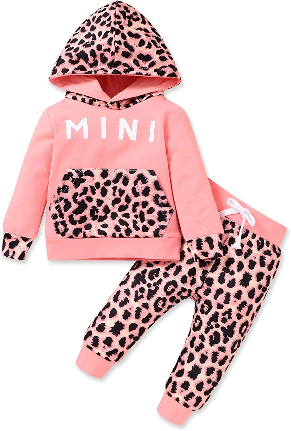 HAPPYMA Baby Boy Girl Clothes Letter Hoodie Sweatshirt Leopard Pants 2pcs Winter Outfits 0-24 Months