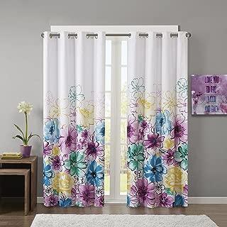 Intelligent Design Blue Blackout Bedroom, Casual Darkening Living Family Room, Olivia Floral Grommet Black Out Window Curtain, 50X84, 1-Panel Pack