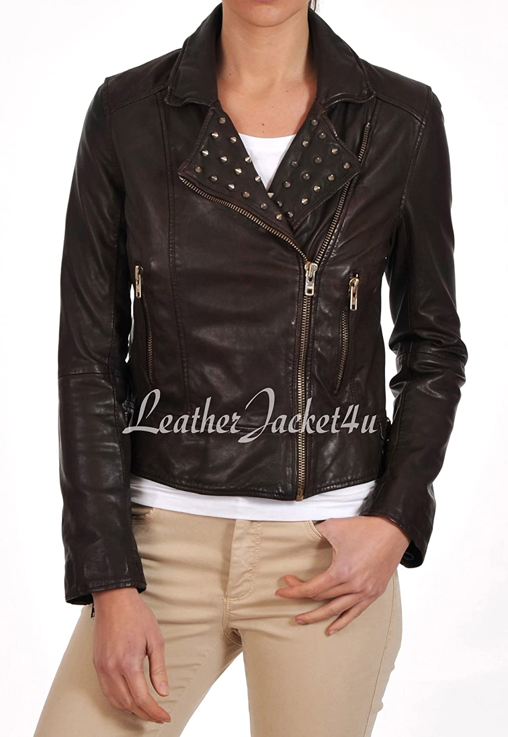 Women's Stylish Genuine Lambskin Leather Jacket 168