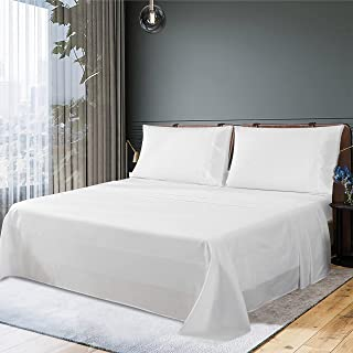 JustLINEN Bed Sheet Set Queen Size - 300 Thread Count Sheet Set 50% Cotton & 50% Polyester Soft and Breathable Fabric 4 Pi...
