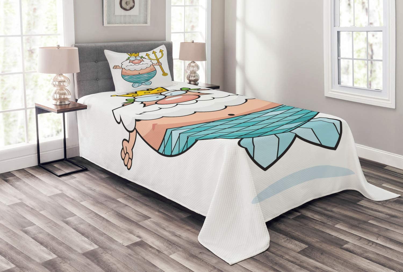 Ambesonne Neptune Bedspread Manufacturer OFFicial shop Ranking TOP12 Funny Underwater Ki Cartoon Nursery
